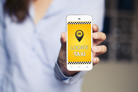 Taxi locator app  in a mobile phone.