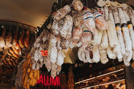Salami in a roman butchery.