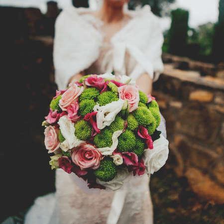 Bride flower bouquet. Stock Photo