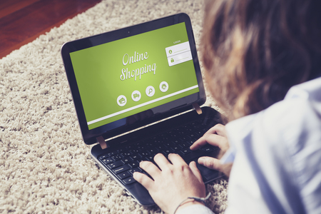 On line shopping website in a laptop computer.