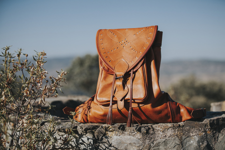 Hunting bag in a wall in nature Stock Photo