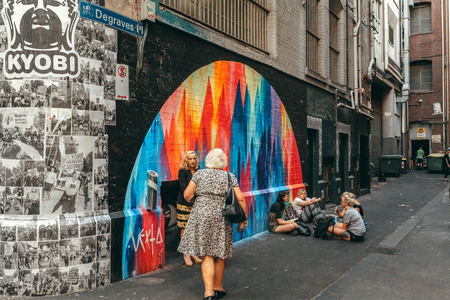 Melbourne, AUSTRALIA - March 9 2017: People and ambient at Degraves place laneway, in the city centre of Melbourne, Australia. Editorial