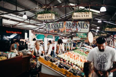 illustrative: MELBOURNE, AUSTRALIA - March, 11 2017: Queen Victoria market organics in the city centre of Melbourne, Australia.