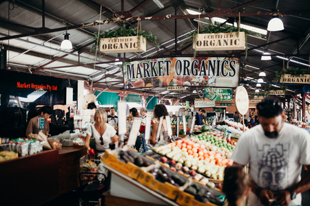 MELBOURNE, AUSTRALIA - March, 11 2017: Queen Victoria market organics in the city centre of Melbourne, Australia.