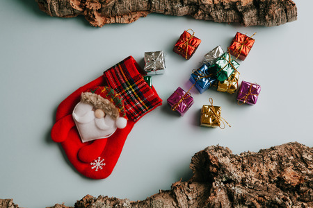 A lot of gifts getting out from Christmas sock. Still life.