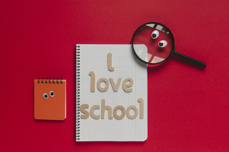 Back to school funny concept with wooden letters in red background.