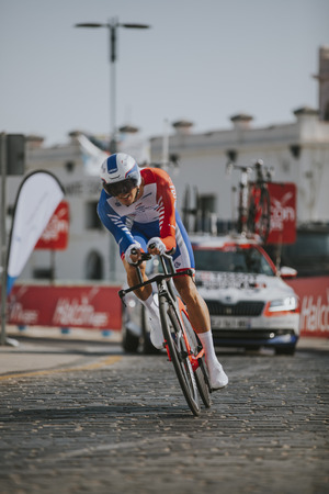 MALAGA, SPAIN - August 25th, 2018: Antoine Duchesne, from Groupama-FDJ Cycling Team, during first stage of La Vuelta 2018 in the city of Malaga, Spain. Redactioneel