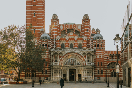 Westminster cathedral facade in London, United Kingdom