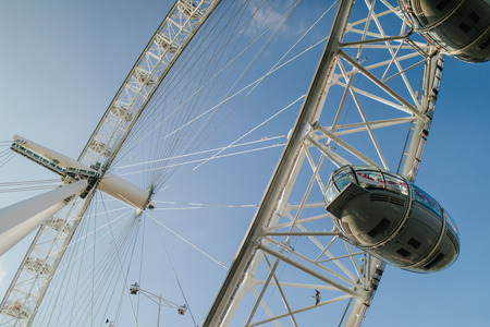 LONDON, ENGLAND - 25th October, 2018: London Eye cabins detail, with blue sky background, in a sunny day in London, United Kingdom.