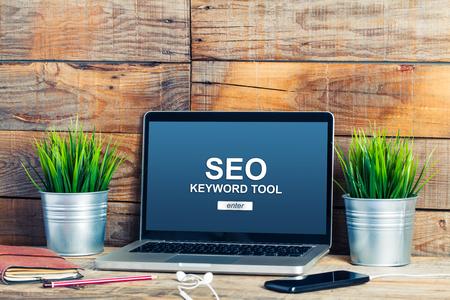 SEO keywording tool in a laptop screen.