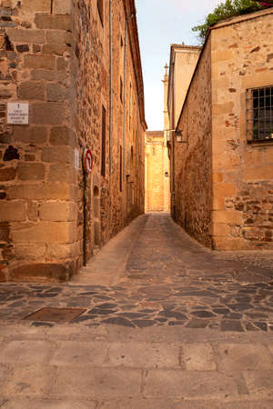Arco de la Estrella street, in the historic city center of Caceres, Spain.