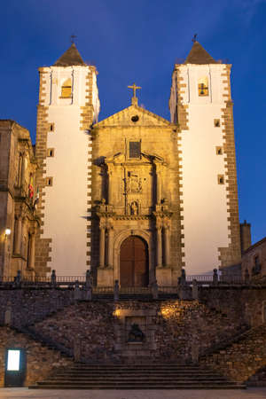 Beautiful white church in the old city centre of Caceres, Extremadura, Spain.