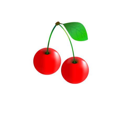 background image: Frutas de la cereza sobre un fondo blanco. cerezas imagen aislados Vectores