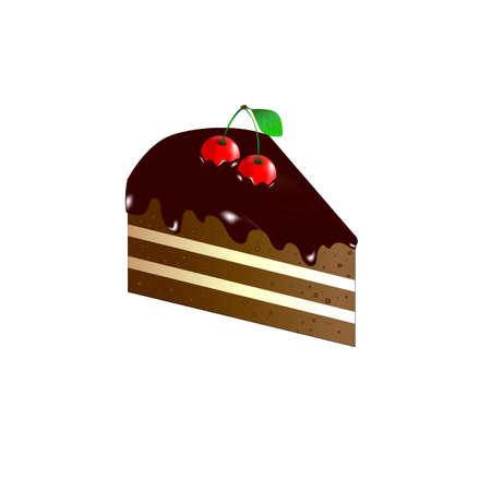 piece of cake: Pedazo de pastel con glaseado de chocolate. cereza en la cima de la mentira Vectores