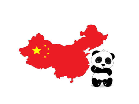 petite: Image panda sitting on a background map of China. card has a coloring of the Chinese flag Illustration