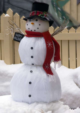 happy snow man red