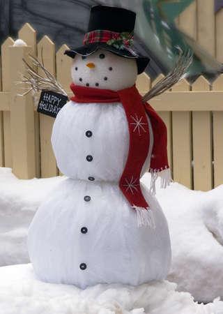 happy snow man red