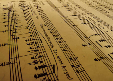 close-up of old sheet music