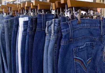 blue jeans on a hangers Stok Fotoğraf - 364037