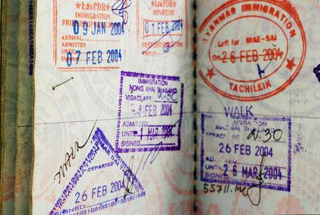 close-up of passport visa Imagens