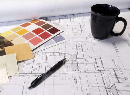 색상 칩 및 집 계획 스톡 콘텐츠