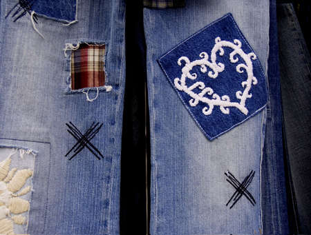 close-ups with of jeans with patches Stok Fotoğraf - 386673