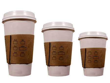 three isolated coffee cups Stock Photo
