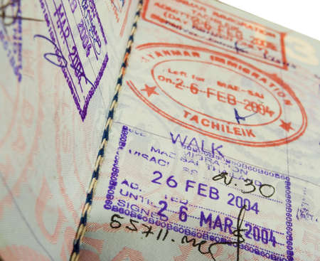 close up of visas in a us passport