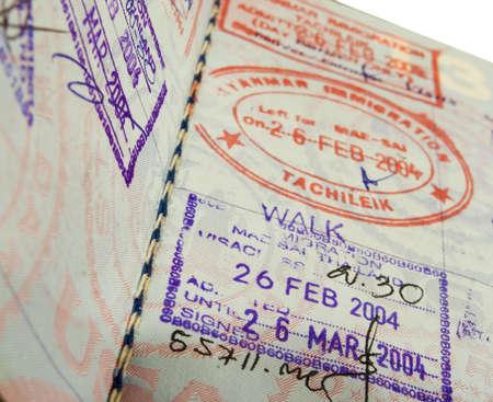 close up of visas in a us passport Фото со стока - 399153