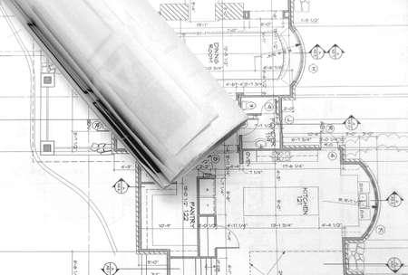 blueprints on table , Reklamní fotografie