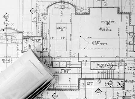 blue prints on the table Stock Photo