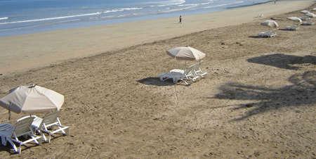 deck chairs along the beach photo