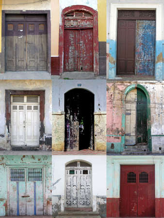 menue:  nine old and grungy doors