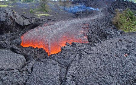 fresh lava flow from a volcano