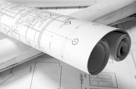 롤드 - 업 계획 테이블에 스톡 콘텐츠