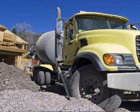 yellow concrete truck