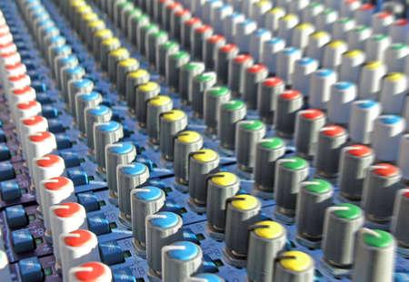 mixing desk close up Stock Photo