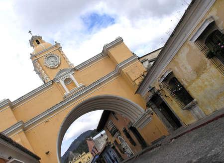 antigua:  clock tower in antigua city guatemala, Stock Photo