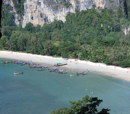 longtail boats  in krabi thailand photo