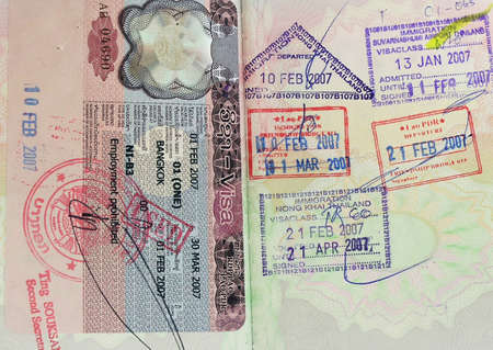 inside of a british passpot  with visas