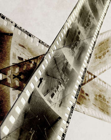 abstract film strip of b&w negative