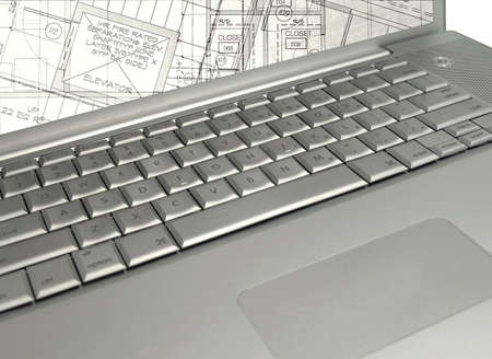 laptop with  plans on screen (the image on the screen is my work )    Imagens