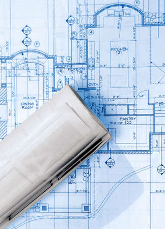 blueprints on table ,