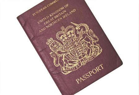 old british passport isolated on white