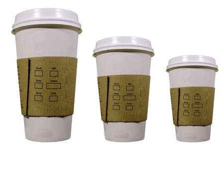 disposable:  three coffee cups to go