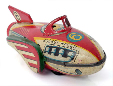 old red rocket racer toy  Stock Photo