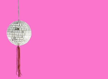 80 s: retro disco ball with copyspace
