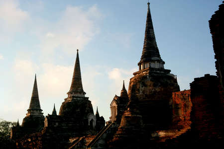 walled: The ruins of the old walled city of Ayuttaya, the former capital of Thailand. Stock Photo
