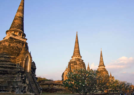 ayuttaya: The ruins of the old walled city of Ayuttaya, the former capital of Thailand. Stock Photo