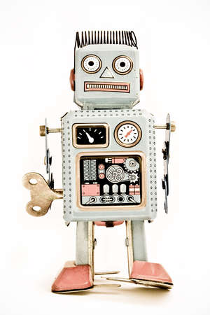 tin robot:  old robot toy  ( retro inspired image ) Stock Photo